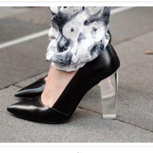 Zara Black Leather Lucite Heel Pumps